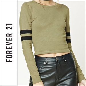 Forever 21 Olive Black Varsity Striped Sweater